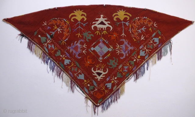 """Silk Embroidered Horse Cover,Uzbekistan, early 20th century. 1.05m x 0.62m (3'6"""" x 2'1"""")"""