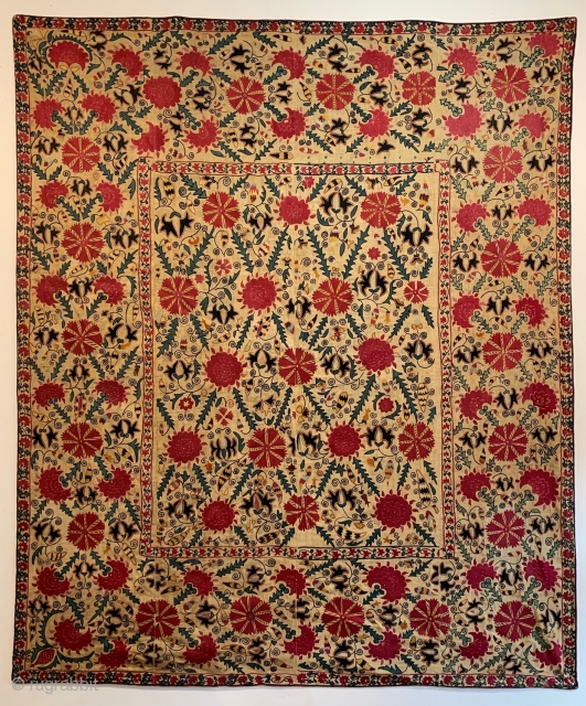 """A beautiful Uratube Suzani, circa 1825-1850, 2.08m x 1.74m (6'10"""" x 5'9"""") which I shall be exhibiting at LARTA next month.  The London Antique Rug and Textile Art Fair (LARTA) 21st January  ..."""