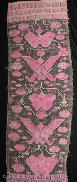 Tujia Wedding Blanket Fine and rare antique panel from Tujia minority, in Guizhou, Southern China wedding blanket with butterfly and lotus scroll motifs (please note that this type of lotus scrolling is  ...