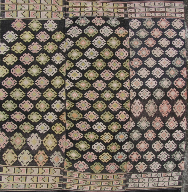Very rare three paneled Tujia blanket from Guizhou, China circa 50 to 70 years old (possibly older). Woven with all handspun cotton threads except for the commercially made upper and lower borders  ...