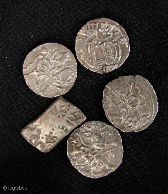 Collection of five ancient silver jitals from the Hindu, Spalapati Kingdom in what is now Kabul, Afghanistan- circa 700-1000CE. Very nice mounted horseman and Nandi images. Scale in last enlargement. Approx 3-4  ...