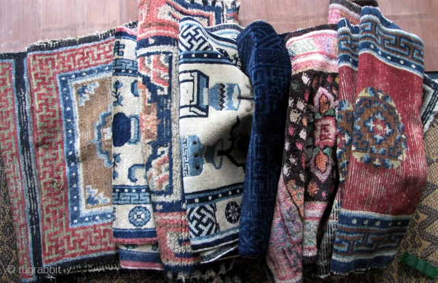 """Antique Chinese Rugs Wholesale Special: Baotou and Tibetan rugs. Please refer to  individual links for close ups and condition reports. This is a """"take it or leave it """"  price  ..."""