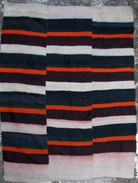 Love old Tibetan handspun wool blanket with natural dyes. Perfect condition with wonderful abrash in the burgundy, green and blue colors., the burgundy has bled a bit into the gray. Please note  ...