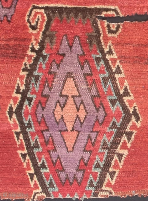 Detail of an antique Sarkisla pile rug fragment from eastern Anatolia