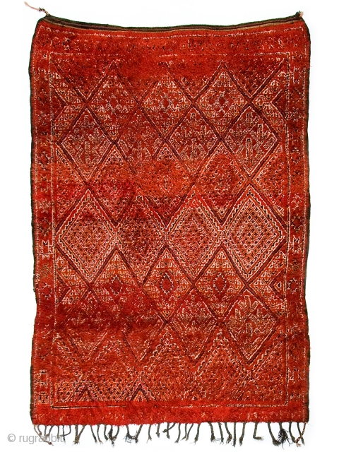 Lovely double sided Zayan rug from the western middle atlas range of Morocco.  This particular piece is a double sided (pile and flat weave) rug with considerable amounts  ...