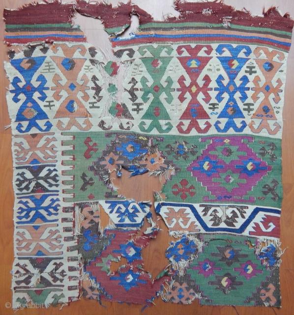 Antique Anatolian Kilim Fragment  size.100x95cm