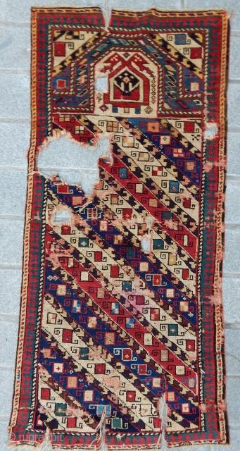 Antique Caucasian Prayer Rug Fragment
