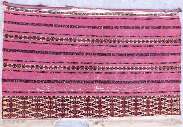 Antique Turkmen Ak Chuval Rug