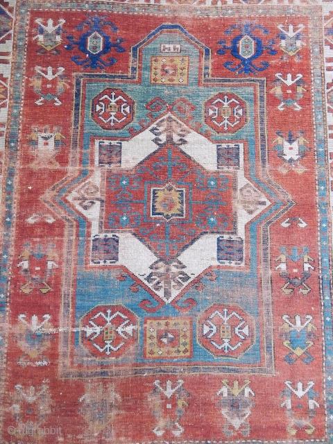 Antique Caucasian Fahrola Prayer Rug  Size.12x100 cm