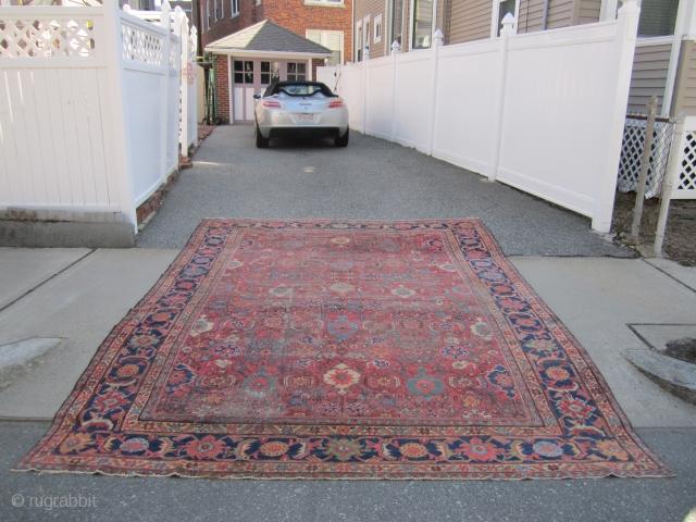 """antique mahal crab design rug 9' x 12' 3"""" some wear 3 holes sides and ends are good nice colors cheap money big profit no dry rot SOLDDDDDDDDDDDDDDDDDDDDDDDD"""
