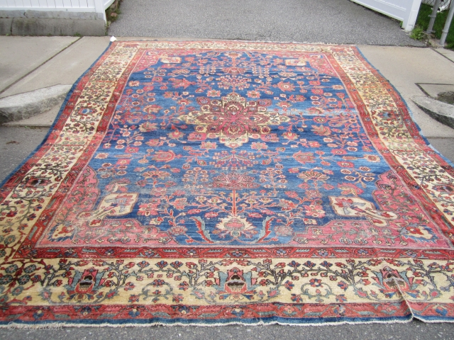 "beautiful antique mahal rug measuring 10' 4"" x 13' 7"" great yellow wide border indigo field solid rug very floppy no dry rot worn with moth damage on one side as shown  ..."