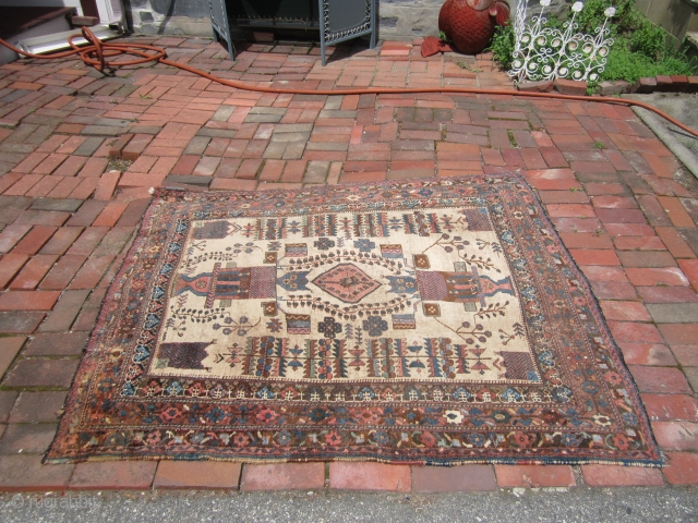 "antique afshar rug good condition 4' 5"" x 5' 5"" needs cleaning rare rug. SOLDDDDDDDDDDDDDD"