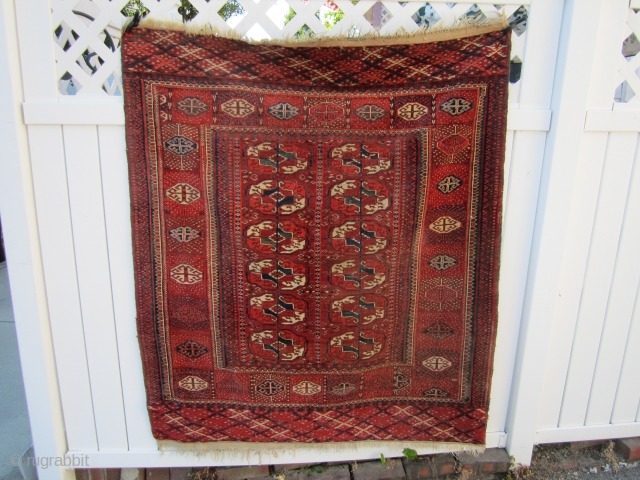 "beautiful vintage (SOLD SOLD THANKS) turkoman tekke rug full pile no worn spot collector piece excellent wool quality measures 4' 3"" x 4' 10"" great colors and design.SOLD THANKS"