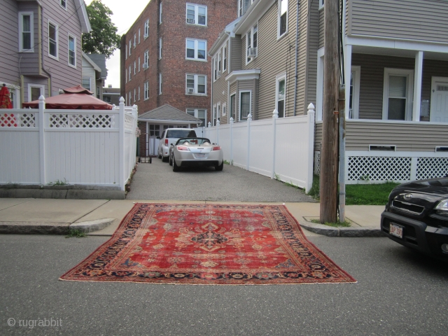 "antique turkish sivas oriental rug great distressed condition complete rug both ends and sides are good no holes no dry rot clean rug 10' 3"" x 13' 7"" cheap money huge profit  ..."