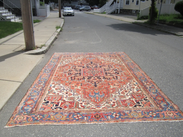 """beautiful antique heriz serapi rug great colors great design and great condition 8' 1"""" x 10' 9"""" solid rug SOLDDDDDDDDDDDDDDDDDDDDDDDDDDDDDDDDDDDDDDDDDD"""