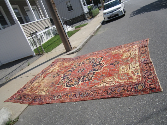"antique serapi heriz rug measuring 9' x 11' 9"" great colors area of wear clean rug no holes and no dry rot fantastic design can send more pictures if interested.SOLDDDDDDDDDDDDDDDDDDDDDDDDDDDDDDDD"