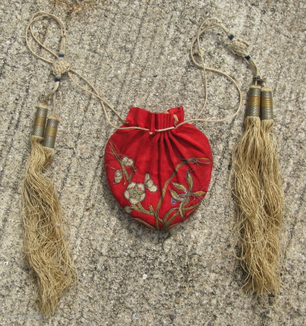 Antique Chinese purse / belt pouch, hand embroidered with very fine silk chain stitch and couching of metal threads, on red silk, hand woven endless knots above the tassels, and finely hand  ...