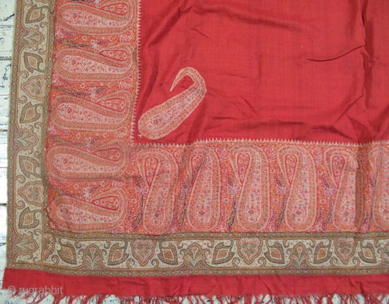 Antique Kashmir Shawl Hand Woven Wool Northern India Ca