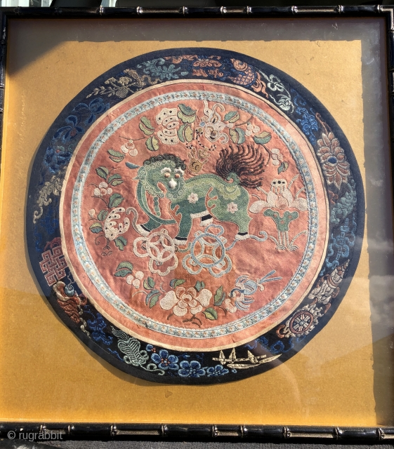 Nice antique Chinese embroidery with green  dog of Fo.