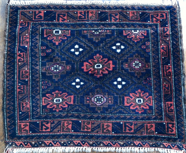 Nice antique Baluch bag with Mina khani design late 19 c All wool natural dyes has a very unusual light blue detail. The wool is amazingly soft and shiny needs a surface clean  Colours  ...