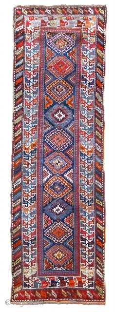 Antique and very original GENDGE Caucasian runner rug, 1920 (Caucasus)  Good condition  11,7' x  3,8'  (355 x 112 cm)  Wool and cotton (entirely handmade)
