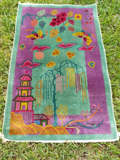 Don't look at this cover photo, a true display of this beauty is in the last two pictures inside. A beautiful 3x4.10 Vintage Deco Chinese with extraordinary abstract trees and cloud-bands on  ...