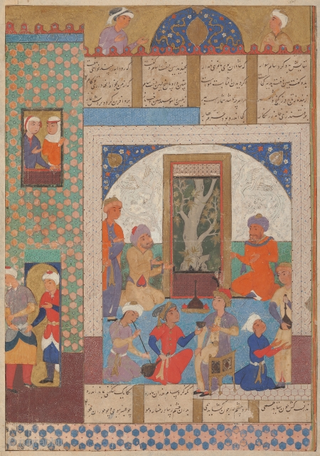 A court scene in an interior, Safavid Persia, probably Mashhad, late 16th century. Gouache heightened with gold on paper, a young prince sits in a palace interior, offered wine by his attendants, with  ...
