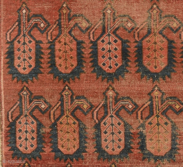 Kyrgyz main rug fragment (giliam), Ferghana valley, mid-1800's, 326cm x 98cm, unusual badalja/boteh pattern, impressive large detailed decorative centrepiece – indicative of earlier technique and tradition, natural colours, professionally mounted on linen,  ...
