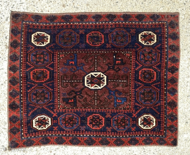 """Baluch saddle bag face,Iran. Late 19th century. 23"""" X 30"""" (inches)      Good pile, soft wool and glowing colors."""