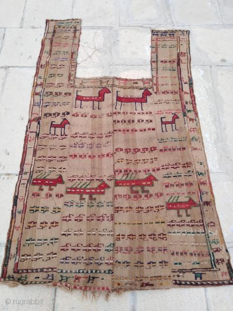 "Antique Caucasian Karabagh horse cover. Very good condition. Width 3'7"" (110cm) Total length 5'7"" (170cm) Strap length 1'8"" (50cm) x width 10"" (25cm)"