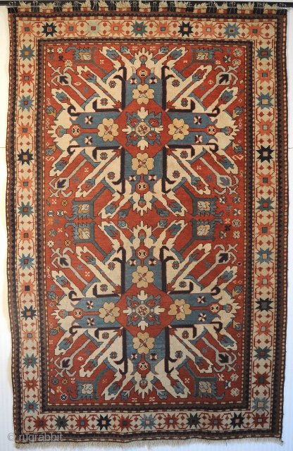"Caucasian Chelaberd Eagle Kazak Karabagh rug, early 20th century, excellent condition, size 4'8""x7'3"" (142x220cm). 