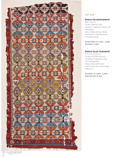 Auction on March 30th at 4pm, all on offer with no reserve. https://www.liveauctioneers.com/item/69912845_konya-kilim-fragment