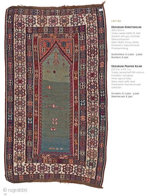 Auction on March 30th at 4pm, all on offer with no reserve. https://www.liveauctioneers.com/item/69912801_erzurum-prayer-kilim