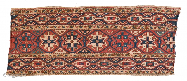 """Lot 22, SHAHSAVAN SUMAKH PANEL 97 x 39 cm (3ft. 2in. x 1ft. 3in.) Azerbaijan, late 19th century Published: """"Mafrash"""", Siawosch Azadi 1985, Page 144, Auction April 22nd 4pm, https://new.liveauctioneers.com/item/52104185_shahsavan-sumakh-panel-97-x-39-cm-3ft-2in-x-1ft"""