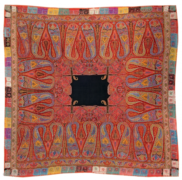 Lot 286, KASHMIR Shawl 195 x 190 cm (6ft. 5in. x 6ft. 3in.) India, ca. 1900, Auction April 22nd, 4pm, https://new.liveauctioneers.com/item/52104439_kashmir-scarf-195-x-190-cm-6ft-5in-x-6ft-3in