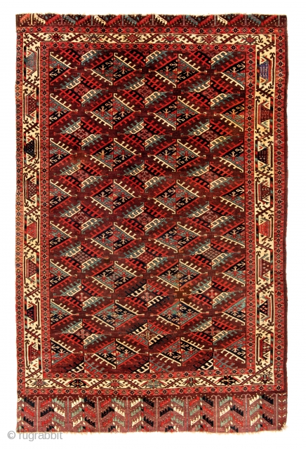 Yomut Main Carpet, Turkmenistan, first half 19th century, 9ft. 3 in. x 5ft. 11 in. Provenance: Siawosch Azadi, Starting bid € 1000, Auction May 18th at 4pm, https://www.liveauctioneers.com/item/71360005_yomut-main-carpet