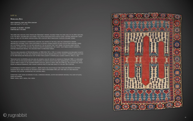 "Lot 11, Bergama Rug, West Anatolia, first half 18th century, 219 x 162 cm (7' 2"" x 5' 4""), Auction on November 16 at 4pm, https://www.liveauctioneers.com/item/77289546_bergama-rug"