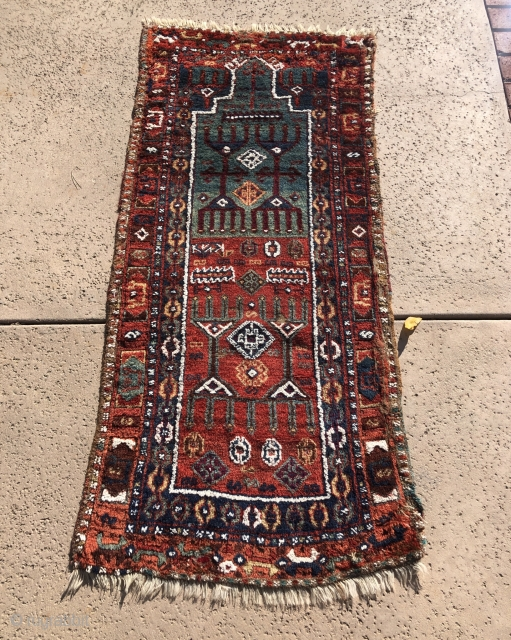 Recently picked up this super charming East anatolian prayer rug. Copious amounts of cotton . One area of tear and repair on one side that is easily fixable . otherwise good conditon  ...