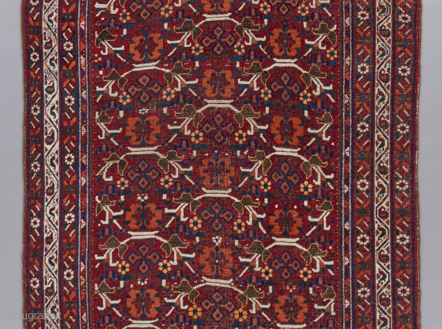 "Afshar with allover field design. 6'1"" x 4'3"".