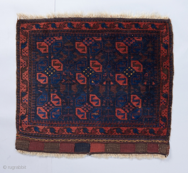 """A lovely Baluch bag face with very good color. 2'3"""" x 2'.   Please visit our website for more collectible woven art: www.bbolour.com"""