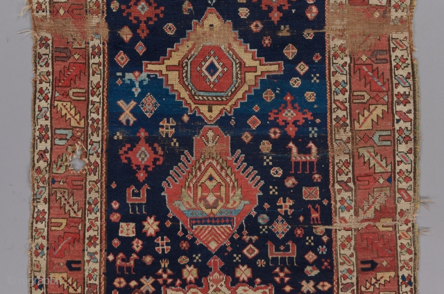 """Shaqaqqi Kurdish rug per Jim Burns' description of a similar piece in his book on Kurdish rugs. Probably mid 19th century or earlier. 7'1"""" x 3'4"""".  Please visit our website for more rare  ..."""
