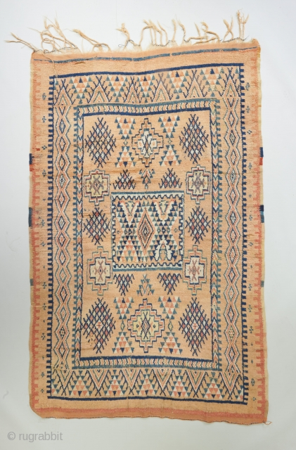 "Nice old Moroccan with s a softer than usual color palette. 7'9"" x 5'. This one looks like it has good age, Circa 1900?