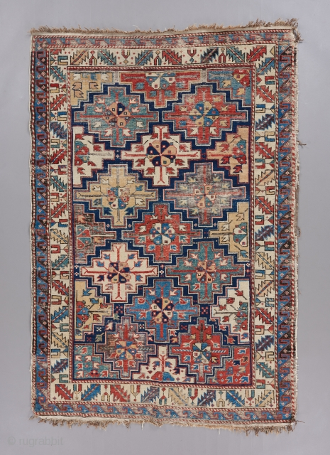 """Kuba rug with a great design and color. Probably closer to a mid 19th century piece. 5'10"""" x 4"""". Condition issues as visible.   Please visit our website for more great woven art  ..."""