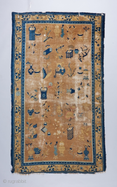 """Very interesting early 19th century Ningxia rug with hundred antiques design. Challenged condition as visible. 7'4"""" x 4'3"""""""