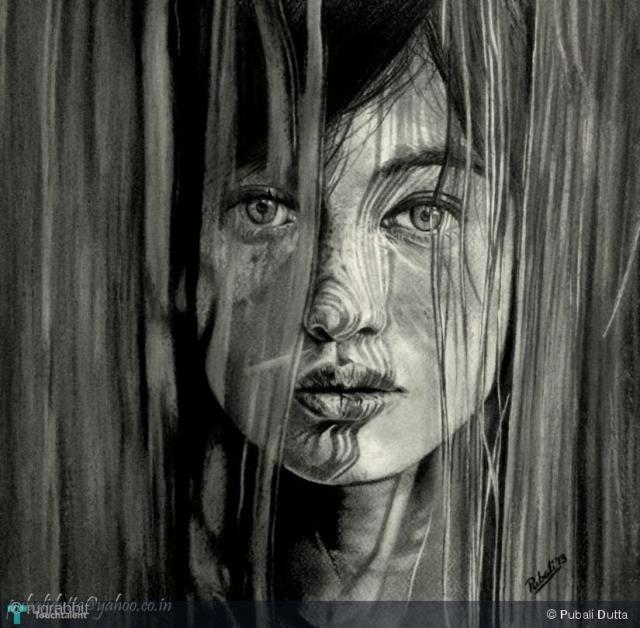 "Artist Pubali Dutta , India ""Woman behind the curtain"" Original,unframed,approx 12 X 16 inches"