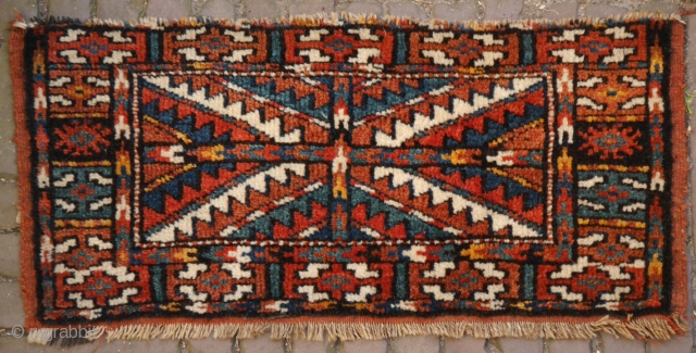 Rare bagface, probably Kurdish with Yomut design. the colours are great (yellow might be anniline), wool is soft, full pile, minor loss at one side, secured, clean. 67 x 30 cm.  sometimes  ...