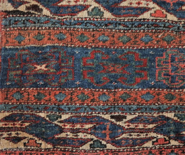Shahsevan mafrash part in good condition, natural colours (except maybe for the red). 53 x 58 cm.