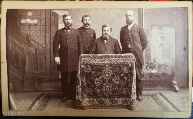 """Ahhhh. Who says there weren't early rug societies. This is a great """"cabinet card"""" in very good condition. Approx. 5"""" x 10"""". Certainly taken in the late 19th century. A.R.T.S. 1889???? Dworskey,  ..."""