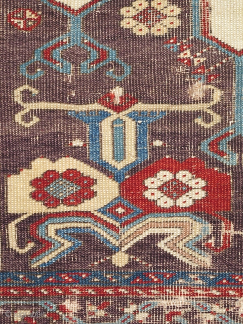 """Ladik Prayer Rug with Double-Columns as well as Double Spandrels. Rare and beautiful white ground and exceptional aubergine and red spandrels. circa 1770, mounted and conserved. a fantastic example. size= 3'7""""x 5'7"""""""
