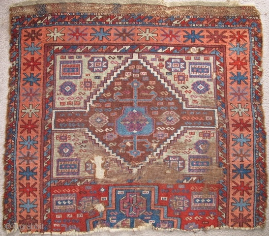 """Antique East Anatolian Kurdish Fragment. crisp drawing and all natural colors. The majority of the flatwoven brocade ends at the top are preserved. An authentic fragment for little money. size= 3'0""""x3,4"""" /  ..."""